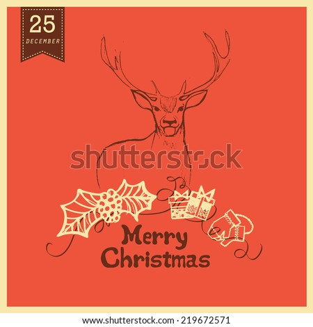 Merry Christmas Greeting Card with deer. #219672571