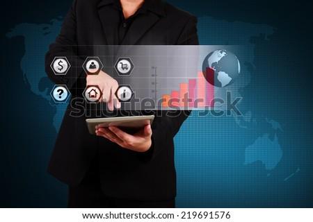 Businessman showing solution concept , Creative business strategy plan idea #219691576
