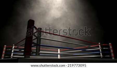 A regular boxing ring surrounded by ropes spotlit in the middle on an isolated dark background #219773095