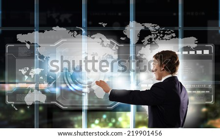 Businessman in suit touching icon of media screen #219901456
