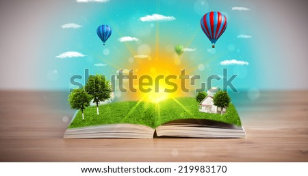 Open book with green nature world coming out of its pages, ecological concept #219983170