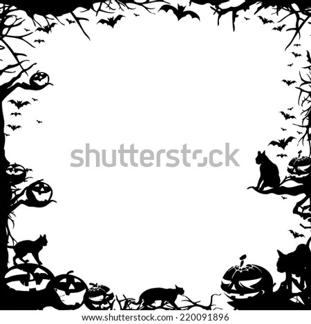 Halloween square frame border isolated on white