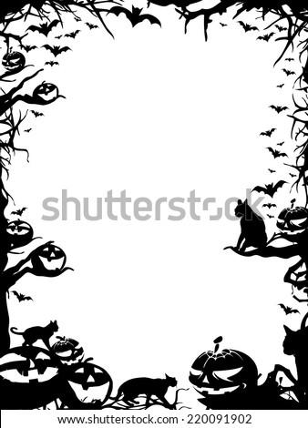 Halloween vertical frame border isolated on white