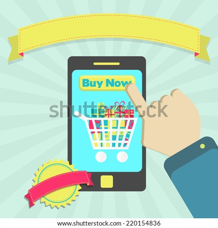 Buy online through phone. Buy goods online through phone. Colorful artwork. Blank ribbon and stamp for insert text. #220154836