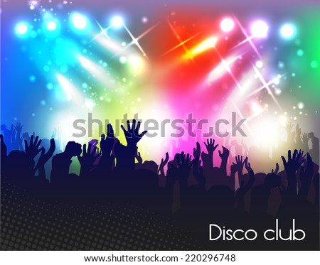 Evening in night club. people against color illumination #220296748