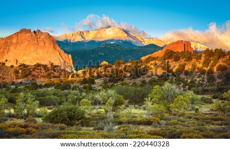 Sunrise looking out over the Garden of The Gods and Pike's Peak in Colorado Springs, Colorado #220440328
