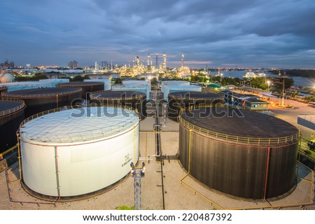 Landscape of oil refinery industry with oil storage tank #220487392