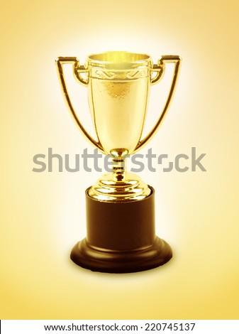 Golden trophy on orange background  #220745137