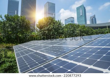 Solar Panels In The Park Of Modern City #220877293