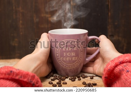 Cup of coffee with heart steaming #220950685