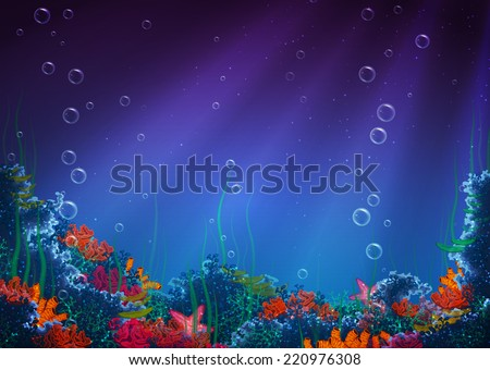Vector illustration of underwater cave for your backdrop #220976308
