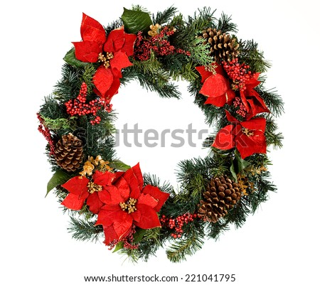 Christmas wreath, isolated on white. #221041795