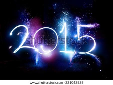 2015 Fireworks New Year Display celebrations Royalty-Free Stock Photo #221062828
