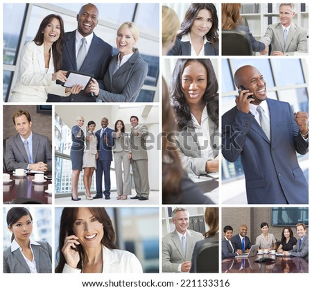 Montage of a successful team of interracial business men & women businessmen, businesswomen on cell phone, using laptop and tablet computers, in meetings making deals. #221133316