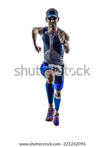 man triathlon iron man athlete runners running in silhouette on white background