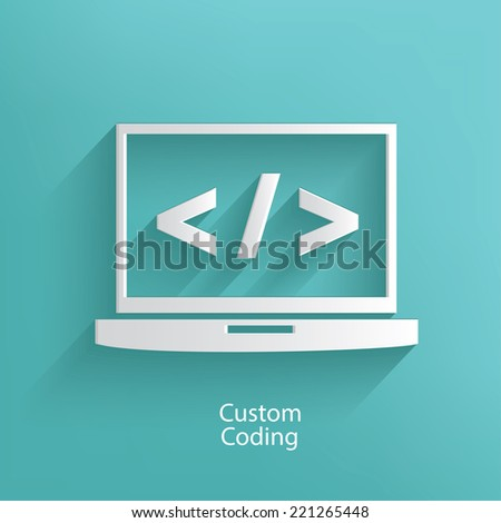 Custom coding symbol on blue background,clean vector