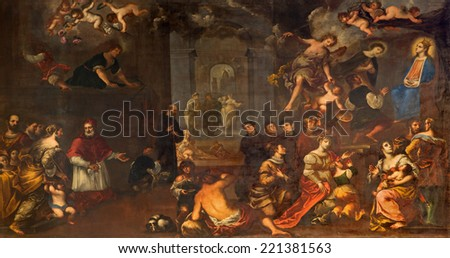 PADUA, ITALY - SEPTEMBER 9, 2014: The depiction of the miraculously vision of Annunciation by  by Matteo Ghidoni (1626 - 1689) in church Santa Maria dei Servi. #221381563