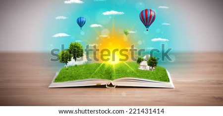 Open book with green nature world coming out of its pages, ecological concept #221431414