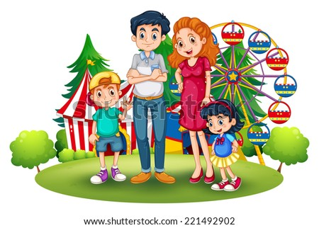 Illustration of a family at the amusement park on a white background
