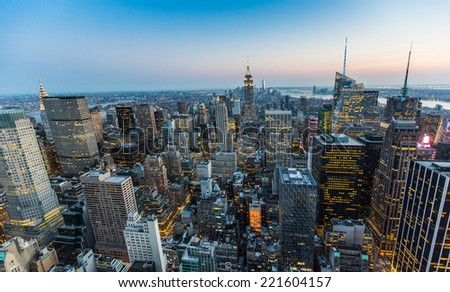 Aerial View of New York at Dusk #221604157