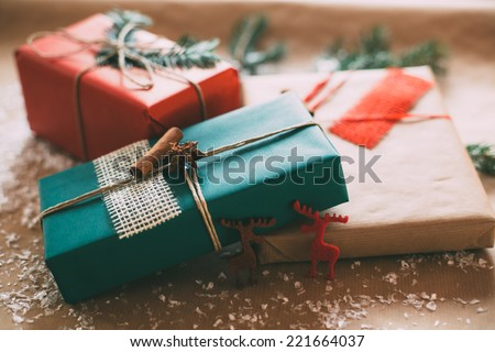 Classy Christmas gifts box presents on brown paper #221664037