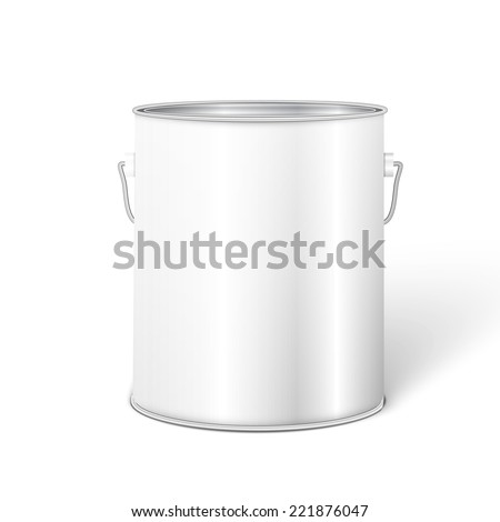 White Tall Tub Paint Bucket Container With Metal Handle.  #221876047