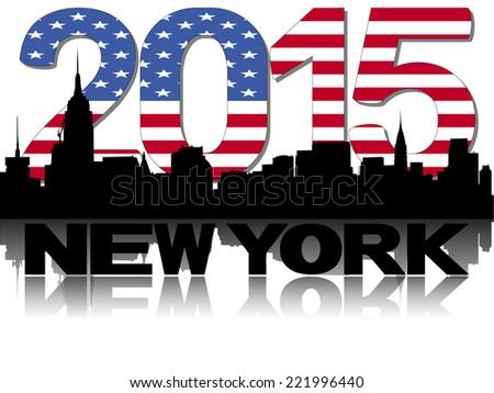 New York skyline 2015 flag text vector illustration