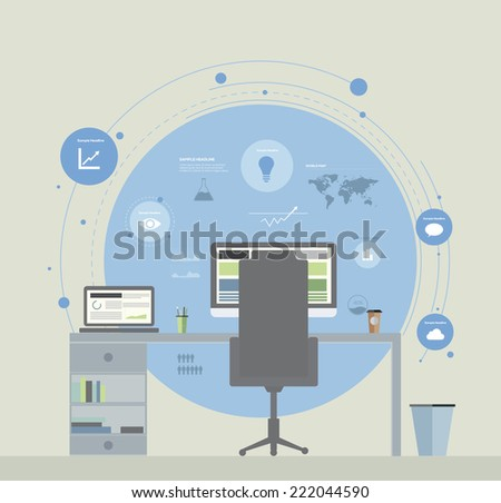 Flat Design Office Infographic Concept. Vector illustration Royalty-Free Stock Photo #222044590