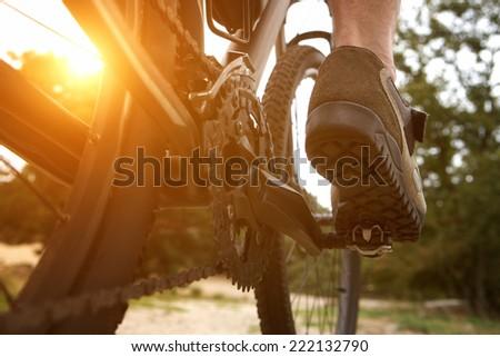 Close up low angle rear view man peddling bike Royalty-Free Stock Photo #222132790