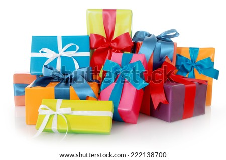 Plenty Assorted Colored Presents for Birthdays or Christmas Isolated on White Background