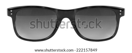 Sunglasses black frame and grey color lens isolated against a clean white background nobody #222157849