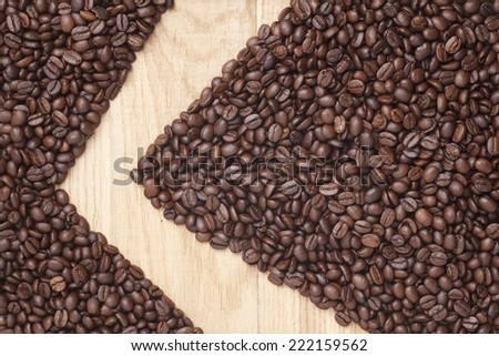 Caffe edition, coffee beans on a wooden background #222159562