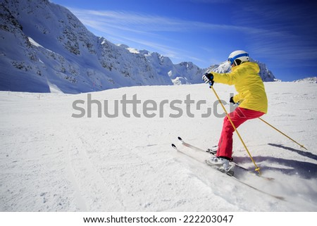 Skiing, skier, winter sport - woman skiing downhill #222203047