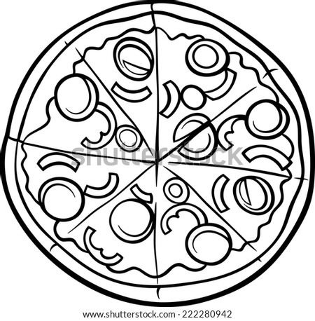 Black and White Cartoon Illustration of Italian Pizza Food Object for Coloring Book