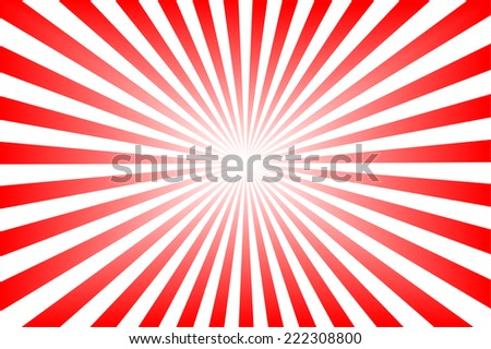 Red background with sun rays.