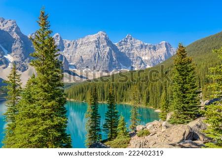 Majestic mountain lake in Canada. #222402319
