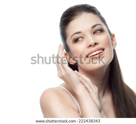 closeup portrait of attractive  caucasian smiling woman brunette isolated on white studio shot lips toothy smile face hair head and shoulders  tooth #222438343