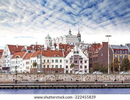 Szczecin (Stettin) City old town, riverside view, Poland.  Royalty-Free Stock Photo #222455839