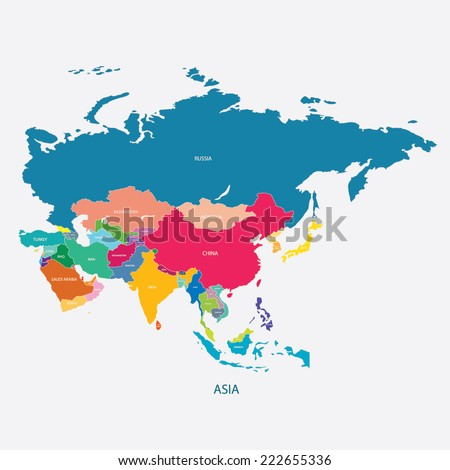 ASIA MAP WITH THE NAME OF THE COUNTRIES illustration vector Royalty-Free Stock Photo #222655336