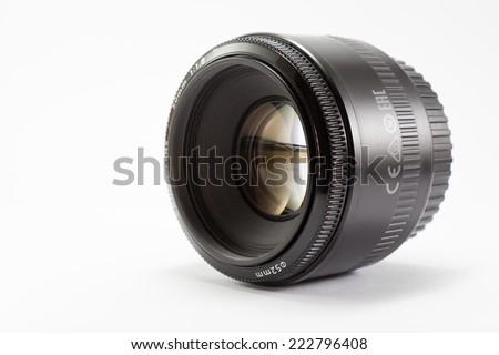 Black camera lens isolated on white background #222796408