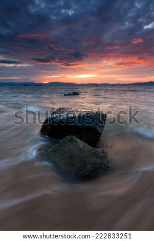 Dramatic sunset at a beach in Sabah, East Malaysia, Borneo #222833251