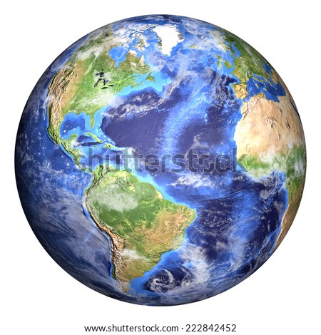 Planet earth with some clouds. Americas view. Elements of image (like cloud map, world map, etc) are furnished by NASA and the sphere with added bump is created in Photoshop CS6 Extended. Royalty-Free Stock Photo #222842452