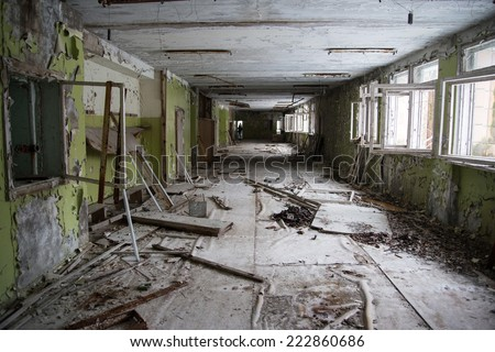 Dilapidated passage in the school of Pripyat / Chernobyl disaster #222860686
