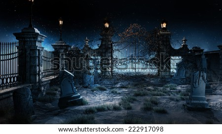 Old gothic cemetery with iron gate and lantern.