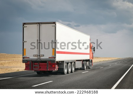 semitruck on the desert road #222968188