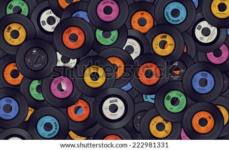 Vinyl records music background Royalty-Free Stock Photo #222981331