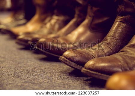 brown vintage leather boots aligned selective focus #223037257