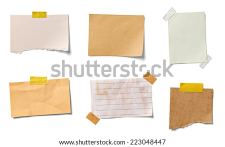 collection of  various vintage note papers on white background. each one is shot separately Royalty-Free Stock Photo #223048447