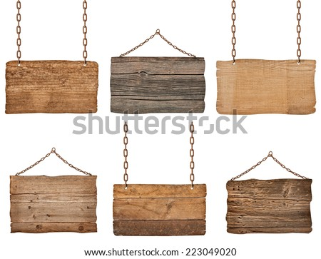 collection of  various wooden signs with chain on white background. each one is shot separately