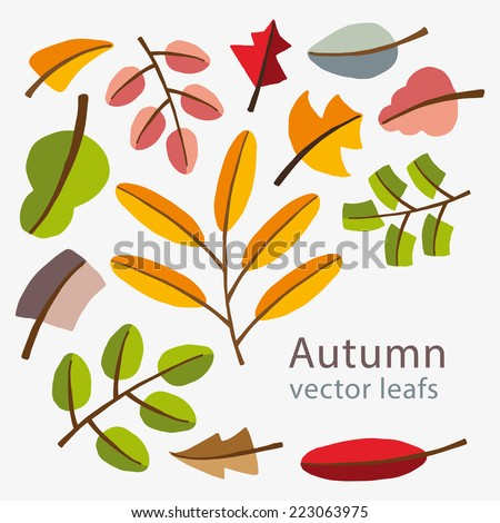 Vector autumn template. Modern stylized colorful leafs. Completely mouse made design. Abstract mosaic with place for your text. #223063975